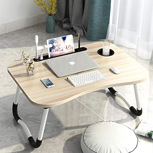 Adjustable USB Laptop Bed Table Lap Desk for Sofa Couch Floor, Folding Laptop Stand Table, Mini Bed Dormitory Table, Portable Breakfast Service Bed Tray with Eye Protection Lamp & Small Fan (Maple)