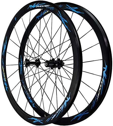 Juego De Ruedas De Bicicleta De Carretera 700c Freno De Llanta Rueda De Aleación De Doble Pared Rueda De Bicicleta De 40 Mm QR 7-12S Card Stroke 1890g,Blue
