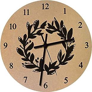 Azeeda 275mm 'Laurel Wreath' Large Wooden Clock (CK00021111):Shizuku7148