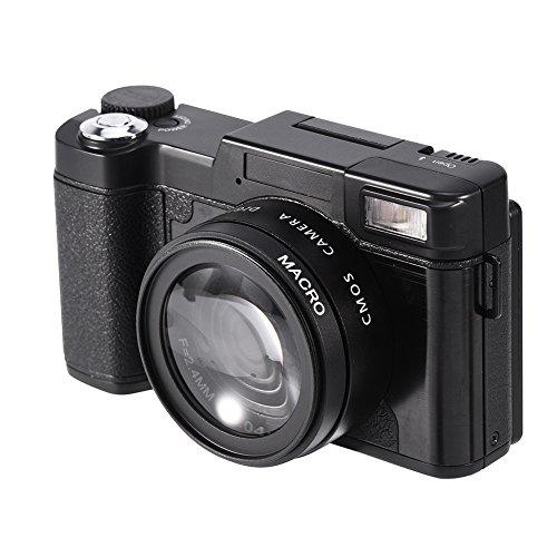 Videocámara con cámara de video digital Full HD 1080P de 24MP, cámaras profesionales giratorias con zoom digital 4 veces, pantalla TFT de 3 pulgadas con funciones de visión y modo para principiantes