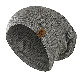 Folie Co Grey Reversible Winter Knit Slouchy Beanie Hat – Hipster Unisex Knitted Cap