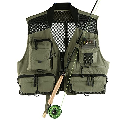 Andux Multifunzionale Fly Fishing Vest all'aperto Vest Multi-Tasca ad Asciugatura Rapida Mesh Vest DYMJ-02