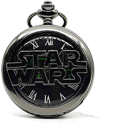 Retro Vintage Star Wars Quartz Pocket Watch Necklace Fob Pendant Clock with Chain
