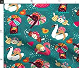 Spoonflower Stoff - Sommer Schwimmen Minze Happy Holiday