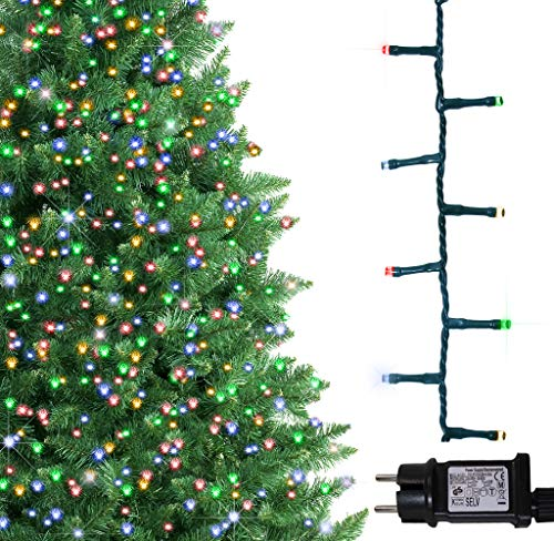ANSIO Árbol de Navidad luces 1000 LED 25m Multicolor Luces interiores exteriores Decoraciones Luces de hadas Luces de red Alimentación de 82 pies Longitud de la luz 32 pies Cable de plomo Cable verde