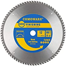COMOWARE Circular Miter Saw Blade- 12 inch 80 Tooth ATB Premium Tip, Anti-vibration, 1 inch Arbor Light Contractor and DIY for Wood, Wood Composites,Laminate, Veneered Plywood & Hardwoods
