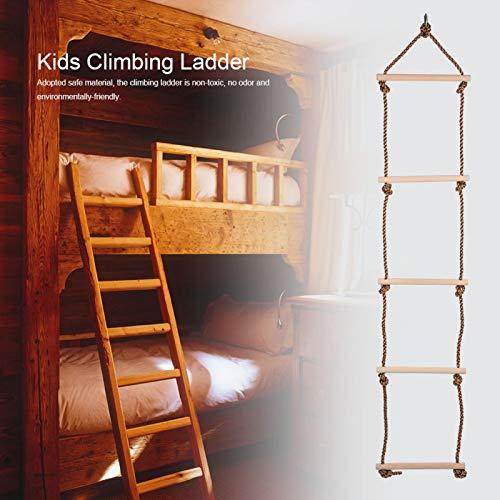Escalera para niños Columpio de madera y cuerda No tóxico, para niños