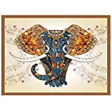 JACCAWS Psychedelic Elephant Tapestry Wall Hanging,Bohemian Tapestry Indian Tapestry Wall Hanging,59''x 79'' Colorful Diamond Elephant Tapestry for Bedroom Living Room Dorm Room Wall Decor.(59''x 79'', GOLD)