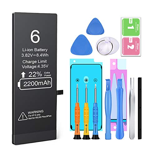 Batería para iPhone 6 Reemplazo de Alta Capacidad, Heganus Batería con 22% más de Capacidad Que la batería Original y con Kits de Herramientas de reparación (2 Años de Garantía)