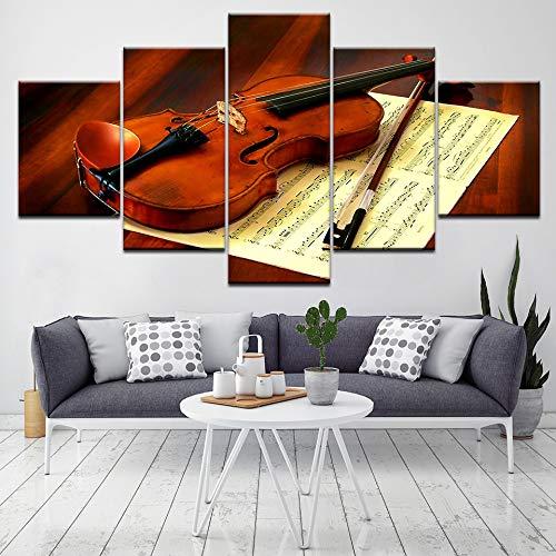 Violín Partitura de música 5 unidades HD Wallpapers Arte Impresión en lienzo del cartel moderno pintura del arte modular para la decoración de la sala de estar, 40X100