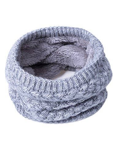 EVRFELAN Infinity Scarf Winter Women Circle Loop Scarves Warm Kids Neck Warmer Chunky Knit Soft Thick Fashion Ladies Accessories Ribbed Girls Men Boy Collar (Grey)