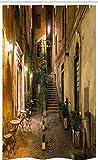 ABAKUHAUS Italienisch Schmaler Duschvorhang, Altes Cafe in Rom-Stadt, Badezimmer Deko Set aus Stoff mit Haken, 120 x 180 cm, Orange Braun Grün