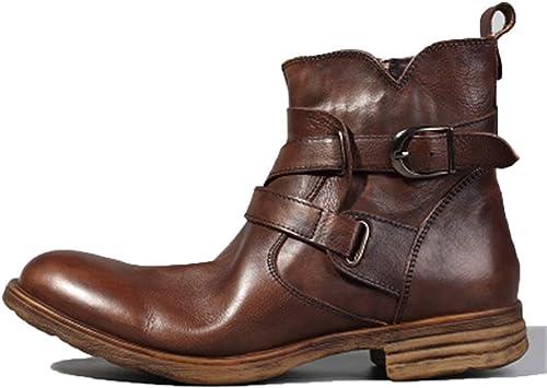 ZHRUI botas Chelsea para Hombre Suela Blanda Antideslizante botas Formales de Cuero Genuino de Moda (Color   marrón, tamaño   EU 41)