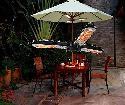 Calentador de parasol de patio eléctrico, calentador de espacio de infrarrojos eléctrico plegable con 3 paneles de calentamiento Tres engranajes ajustables, calefacción instantánea para pérgola