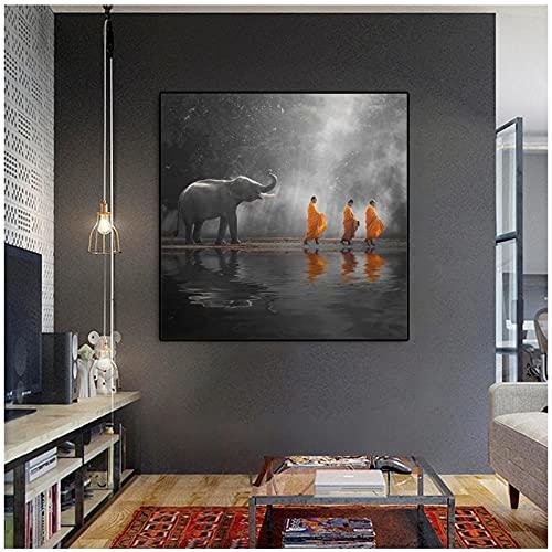 DLFALG Sudeste de Aisa, pintura religiosa en lienzo, elefante, monje, budista, estado de ánimo, póster, arte de pared, impresión, sala de estar, decoración del hogar, 60x60cm sin marco