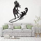 wZUN Surf Girl Pared calcomanía Tabla de Surf Pared Pegatina Surf Deportes Vinilo calcomanía Dormitorio decoración Cartel 63X54cm