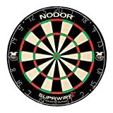 Nodor Supawire 2 Regulation-Size Bristle Dartboard with Moveable Number Ring and Hanging Kit , Black