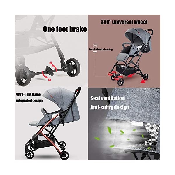 CYCPACK Gray Prams And Pushchairs From Birth - Quick Folding Portable Baby Stroller, Mothercare Journey Travel System Suitable for Babies Aged 0~3 CYCPACK Safe:With sturdy aluminum alloy, compact body and five-point seat harness,each stroller has been pressure tested to provide security for each baby.After using for a period of time, be sure to add lubricant to the bearings of the four wheels to prevent the wheels from being damaged by force. Quality and Design:The backrest of the stroller supports sitting, half lying, lying,all three angles,lengthened and widened sleeping basket. Four wheel independent shock absorbing and built-in bearings make it smoother and quieter. COMFORTABLE: Thanks to backrest and footrest adjustable into lying position, sun hood, practical cup holder tray, and large shopping basket both the parents and the child will be comfy 3