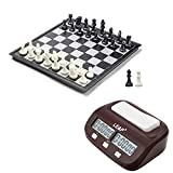 Combo Set - Digital Chess Timer Count Up/Down Chess Game Clock + 25x25cm Magnetic Folding Chess Board with Black & White Chess Pieces + Extra 2 Queens