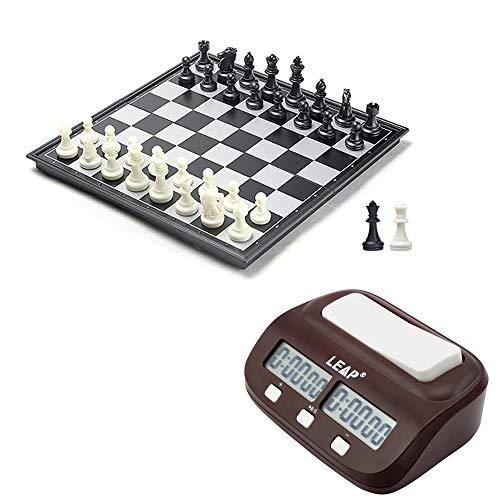 【コンボセット】 デジタル対局時計 チェスクロック + 25x25cm マグネット式 折りたたみチェスボード + 黒と白 チェスの駒 + 追加の2つのクイーン駒
