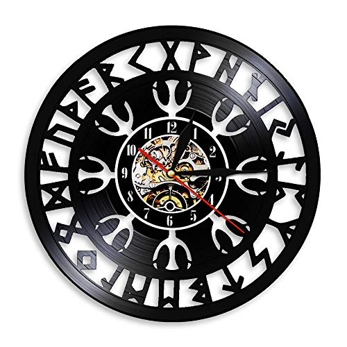 Eld 30cm Talismán nórdico Helm of Awe Símbolo de protección Reloj de Pared Relojes de Vinilo Vintage Brújula vikinga Arte de la Pared Decoración Arte Slient Música Arte Registro Relojes de