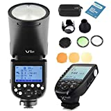 Godox V1F Round Head Camera Flash + Xpro-F TTL Wireless Flash Trigger + AK-R1 Round Head Flash Accessory Kit Interchangeable 2600mAh Lithimu Battery Compatible for Fuji EOS Series Camera
