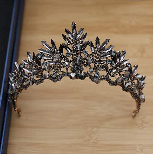 Elegance-Z Kristalkroon, vintage barok, voor bruid, kroon, zwarte jurk, avondeten veer, kapsel haarsieraad