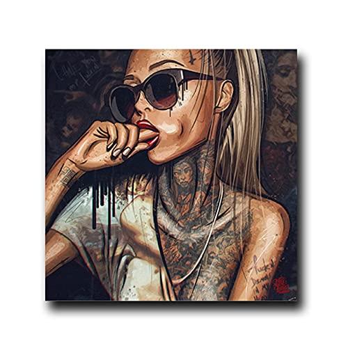 Cuadros en lienzo Cool Sexy Girl Wear Gafas Lienzo Pintura Retrato Tatuaje Póster e impresión Imágenes artísticas de pared para la sala de estar Decoración de la pared Cuadro 65x65cm Sin marco
