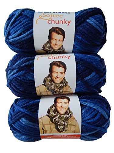 Bernat Softee Chunky Yarn Super Bulky #6, Denim Ombre, 3 Skeins