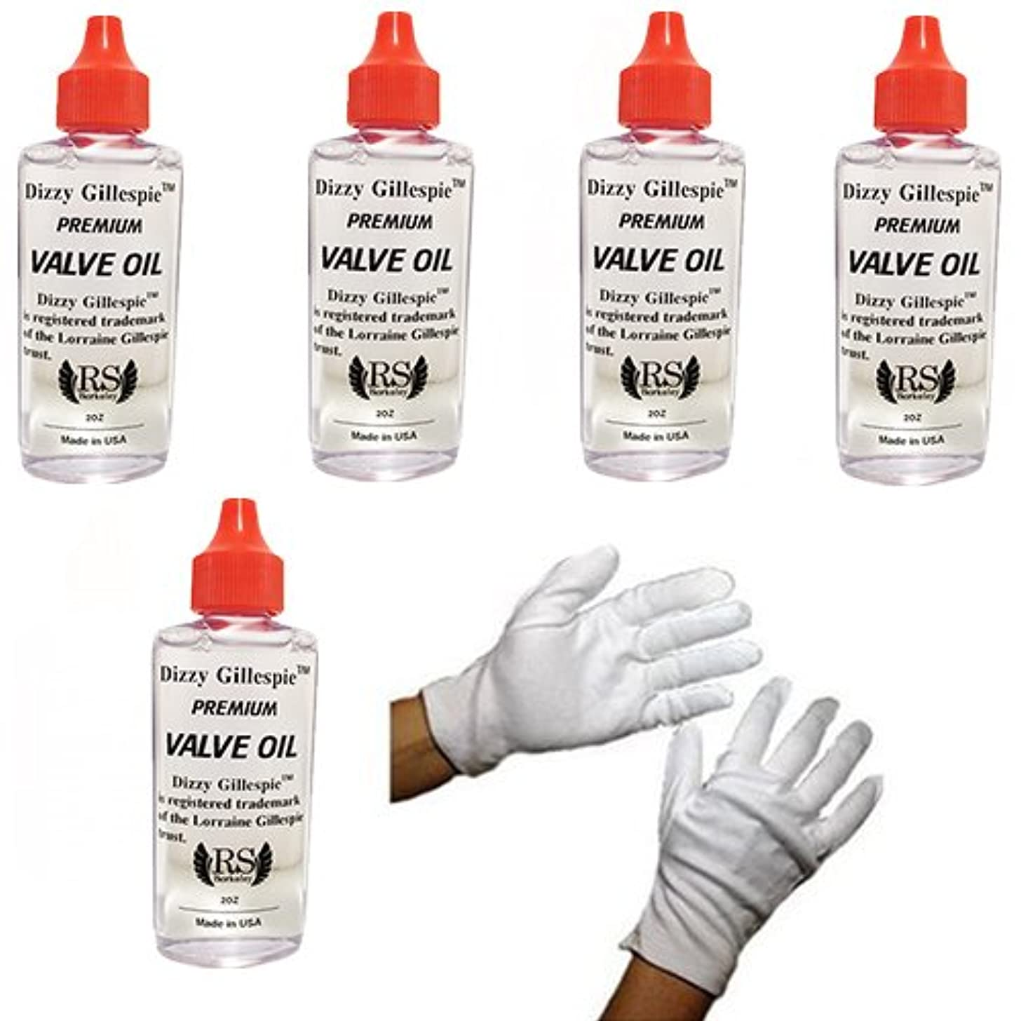 RS Berkeley Euphonium Dizzy Gillespie Valve Oil 5 Pack w/Marching Gloves