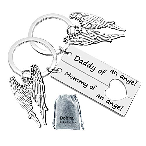 Dabihu Loss Memorial Keychain Mommy Daddy of an Angel keyring Set Miscarriage Keepsake Baby Memorial Jewelry Sympathy Gift for Infant Loss Child Loss, 2 pcs