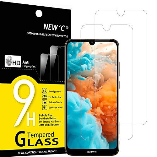 NEW'C 2 Stück, Schutzfolie Panzerglas für Huawei Y6 2019, Y6 Prime (2019), Frei von Kratzern, 9H Festigkeit, HD Bildschirmschutzfolie, 0.33mm Ultra-klar, Ultrawiderstandsfähig