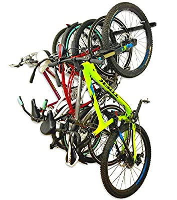 StoreYourBoard 5 Bike Garage Rack, Wall Mount Cycling Storage Hooks, Indoor Bicycle Stand, Solid Metal Holds 200 lbs, Vertical Hanging Organizer