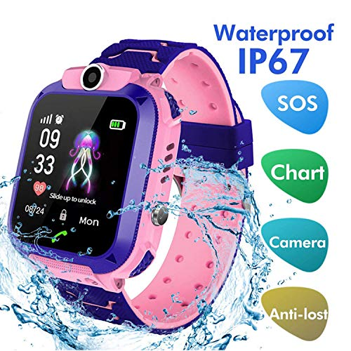 LDB Direct Kids Smartwatch Waterproof LBS/GPS Tracker with Phone SOS Camera Alarm Clock Screen Games for 3-12 Year Old Boys Girls Great Gift (Pink)