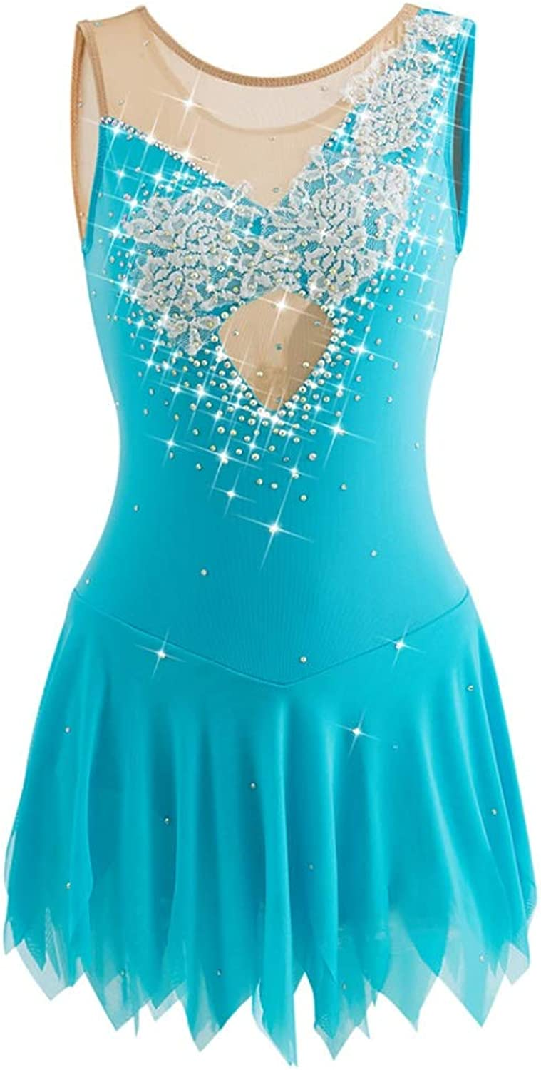 YunNR Lace Applique Figure Skating Dress For Women's Girls Indigo Ice Roller Skating Performance Wear Sleeveless Gymnastics Leotard Dress
