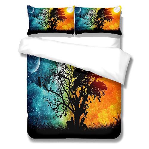 CCBAO 3-Teiliger Bettbezug Mit Farbenfrohen Landschaftsbildern Bettbezug Mit...