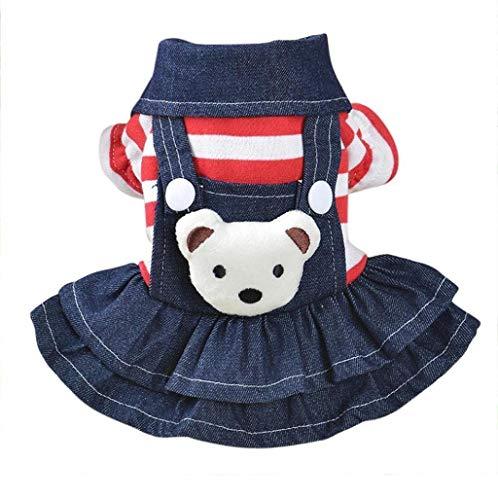 Saisiyiky pequeño Perros Accesorios Ropa Mascotas Disfraces suéter para Perros Trajes de Halloween Camisetas para Perrito Falda Vaquera con Correa Vestido de Cachorro de Perro (XS)