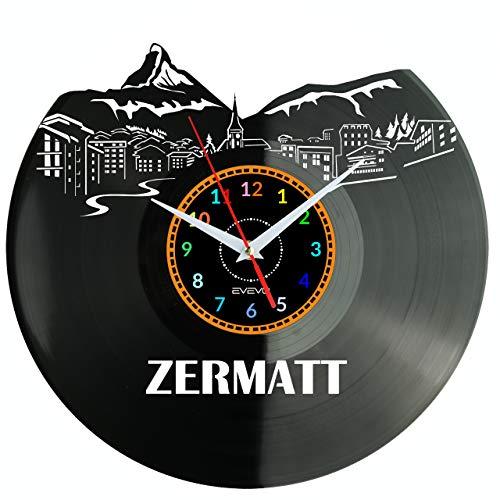 EVEVO Zermatt Reloj De Pared Vintage Accesorios De Decoración del Hogar Diseño Moderno Reloj De Vinilo Colgante Reloj De Pared Reloj Único 12' Idea de Regalo Creativo Vinilo Pared Reloj Zermatt