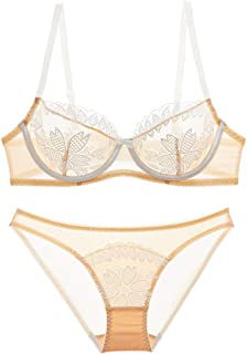 Care Bra Set Sexy Perspective French Ultra-Thin lace Pattern Underwear, with Steel Ring, Nylon, Adjustable Chest, Three Ro...