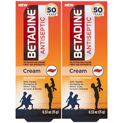 Betadine First Aid Cream Povidone Iodine Antiseptic, 0.53 oz, 2 Count