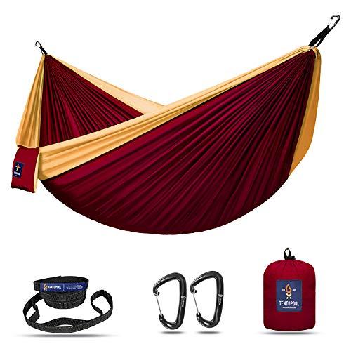 TENTOPOOL Portable Double Camping Hammock – 2 Person Travel Hammock Made of 210T Nylon Parachute Fabric with 2 Reflective Nylon Tree Straps,...