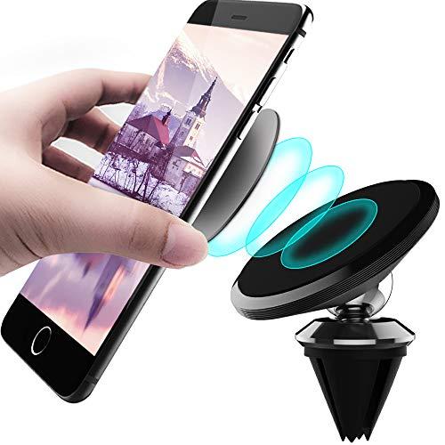 CLM-Tech Kfz Smartphone-Halter, 360° einstellbare Handyhalterung universal mit Magnet, Auto-Halterung Lüftung Lüftungsgitter für Handys, schwarz