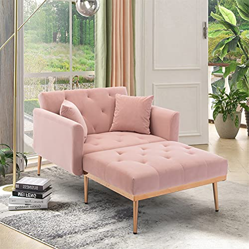 NOSGA Modern Tufted Chaise Lounge, Elegant Velvet Sofa with Thick Padded, Adjustable Backrest Convertible Reclining Chair with Rose Golden Metal Legs for Living Room Bedroom Home Office (Pink)