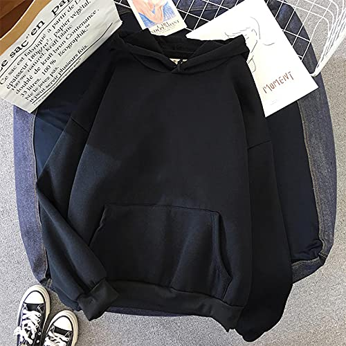 ShSnnwrl Reclaimed Yarn Eco Friendly TopSudadera con Capucha Mujer SueltaClothes Anime Hoodies Ink Painting Print Korean Unisex XXXL Black