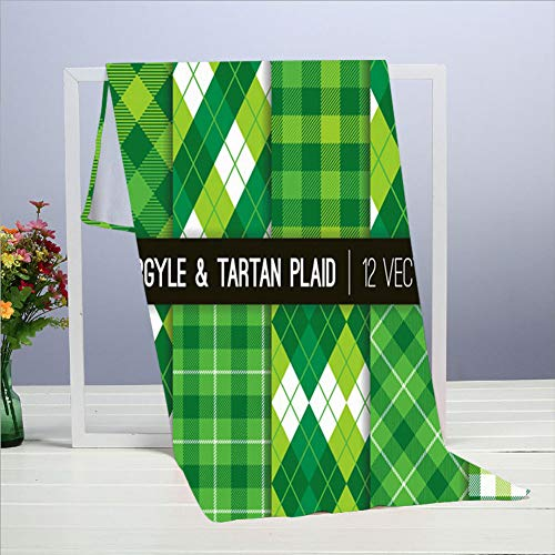 ZVEZVI Green Argyle - Toallas de tartán (40 x 70 cm, toalla para muebles, baño, playa, yoga, camping, natación, deportes, hotel y spa, etc.