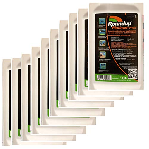 MONSANTO 5 Litri di Roundup Platinum erbicida Post-Emergenza Glifosate Acido Puro 480 gr/lt (10 X 500 ML)