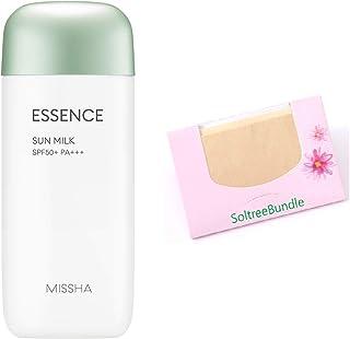 MISSHA All Around Safe Block Essence Sun Milk 2.37 Oz/70Ml + SoltreeBundle Natural Hemp Paper 50pcs