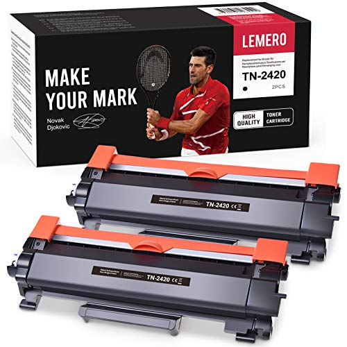 2 LEMERO Toner Compatible para Brother TN-2420 TN2420 TN-2410 [con Chip] para HL-L2310D HL-L2350DN HL-L2370DN HL-L2375DW MFC-L2710DN MFC-L2710DW MFC-L2730DW MFC-L2750DW DCP-L2510D DCP-L2530DW