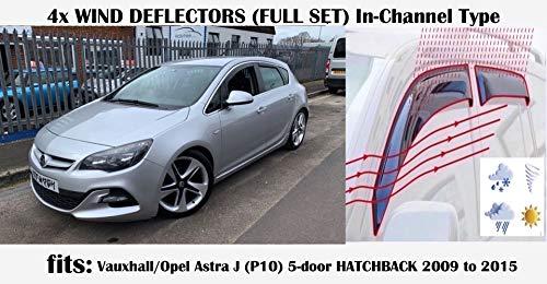 Juego de 4 deflectores de viento en forma de canal, compatibles con Opel Astra J (P10) 5 puertas Hatchback 2009 2010 2011 2012 2013 2014 2015 vidrio acrílico viseras laterales de vidrio
