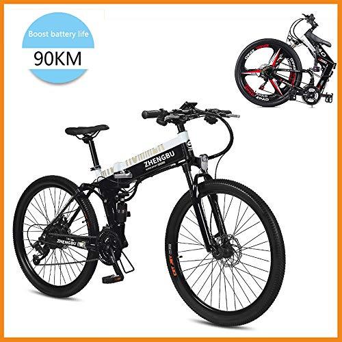 SupShop E-Bike Mountainbike Faltbare Elektrofahrrad, MTB 400 Watt 26-Zoll 48V E-Bike mit Lithiumbatterie, Doppel-Federung Und 27-Gang, für Männer Frauen Stadtverkehr